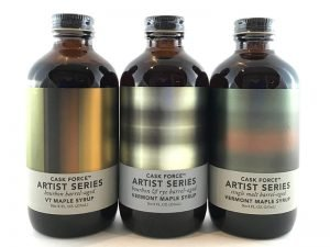 Cask Force Artist series trio of vermont made maple syrup