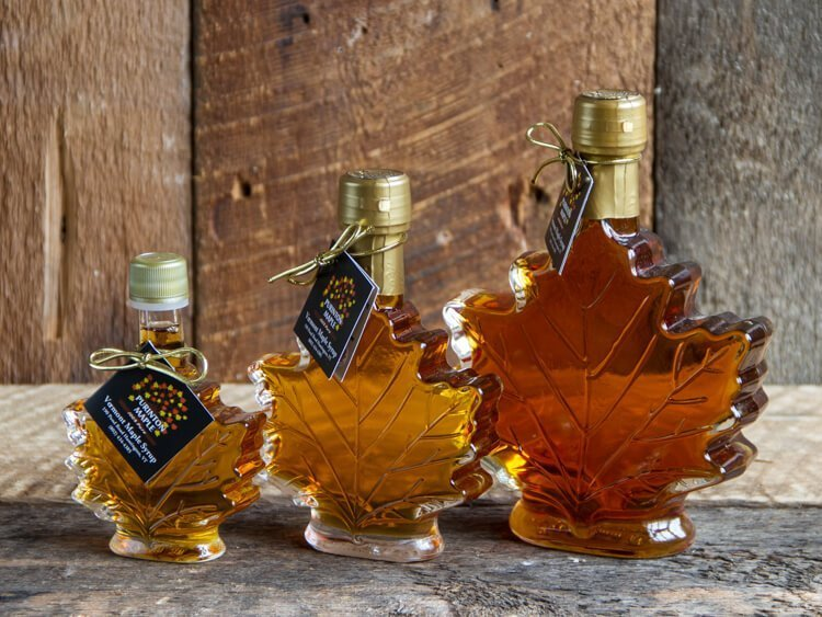 maple syrup maple leaf shaped bottle size range