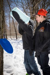 boys tasting the sap for quality and purity