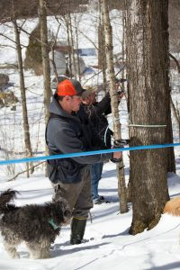 Austin and Cody using drills for tapping maple trees