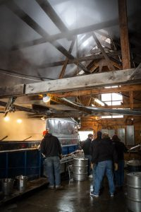 a scene inside the Purinton sugarhouse
